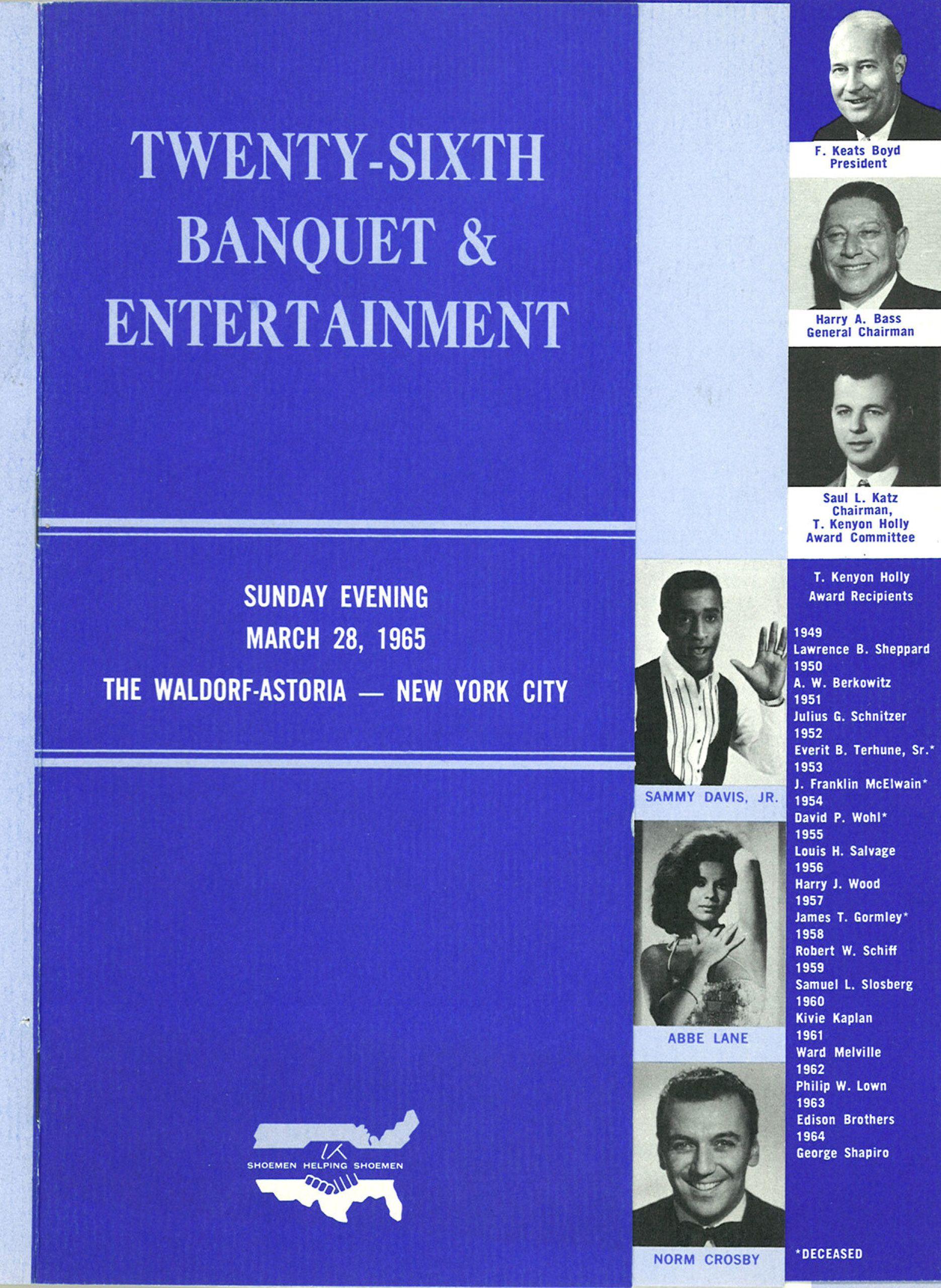 Cover of the Banquet program highlighting Sammy Davis Jr.