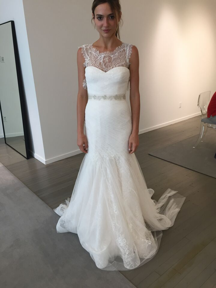 Chantilly lace top over strapless gown. Bliss Monique Lhuillier ...