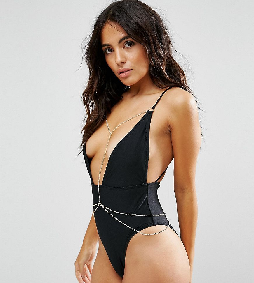 03a1e69248a35 Wolf   Whistle Plunge Swimsuit With Removable Chain B-F Cup - Black ...