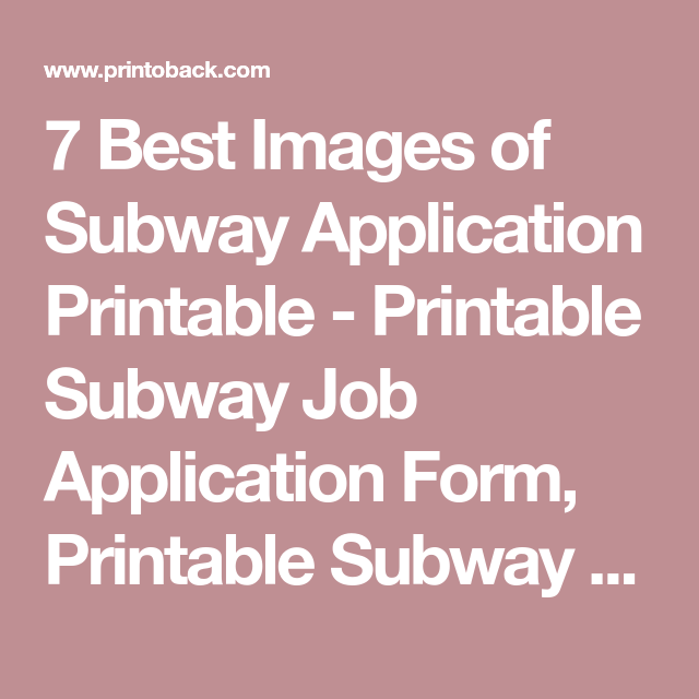 Best Images Of Subway Application Printable  Printable Subway