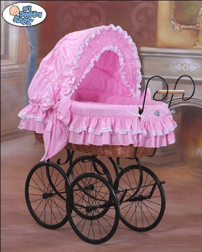 My Sweet Baby - Retro Wicker Crib Moses Basket - Pink by My Sweet baby amazon uk £299.