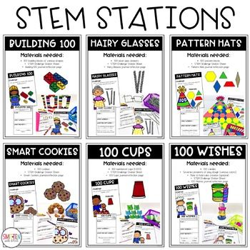 100th Day of School STEM Activities / Stations #stemactivitieselementary