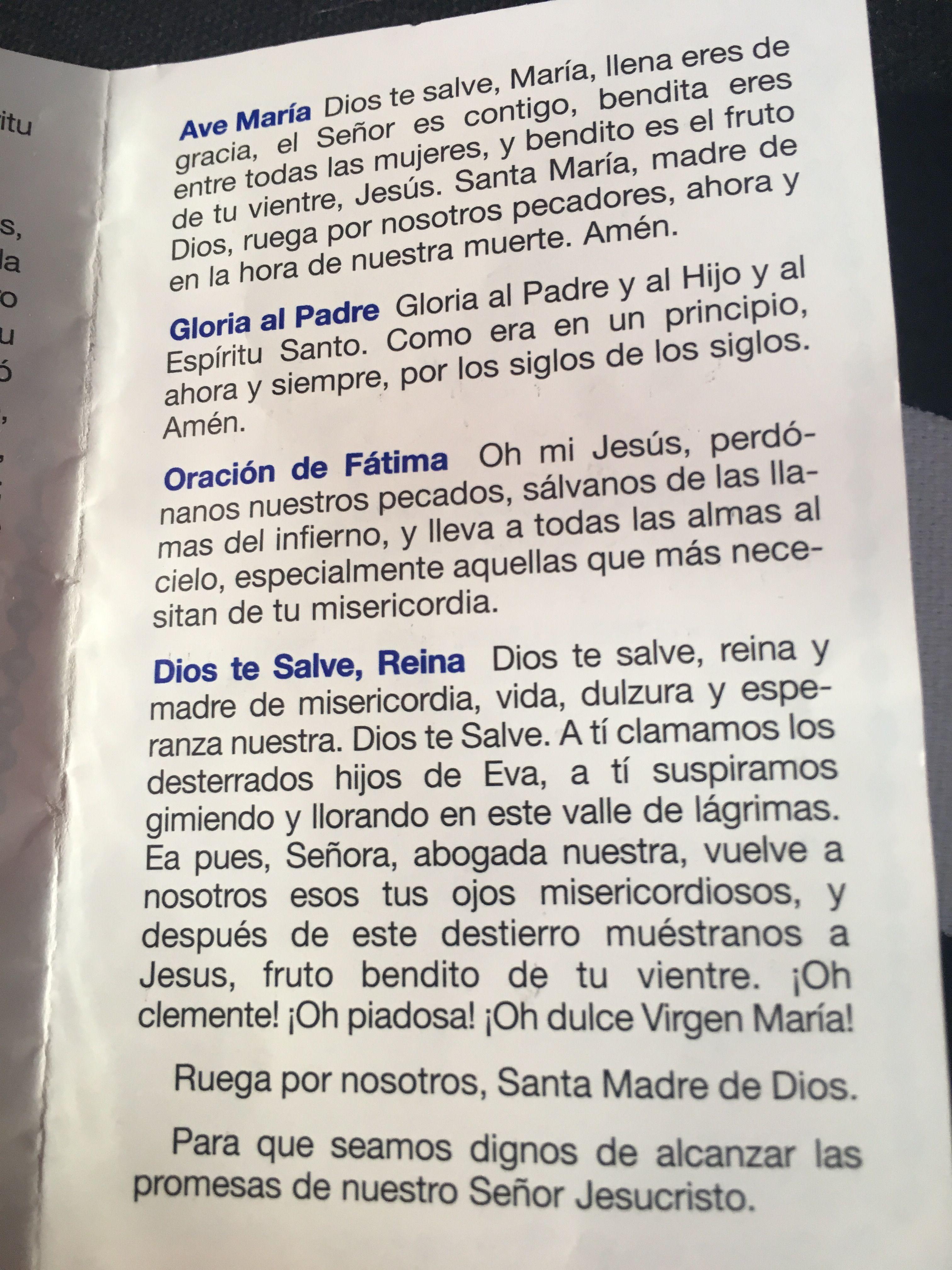 Ave Maria Gloria Al Padre Oracion De Fatima Y Dios Te Salve Reina Oraciones Oracion Salve Oracion Gloria