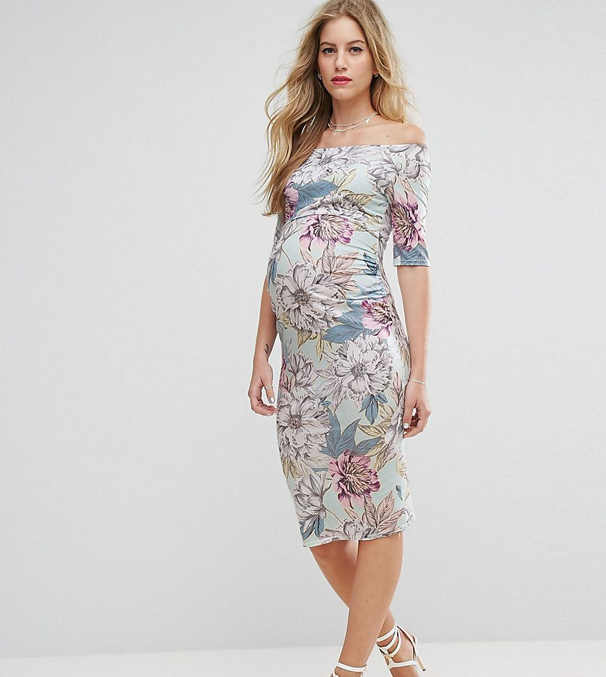 Asos maternity petite half sleeve bardot dress in mint base floral asos maternity petite half sleeve bardot dress in mint base floral pri ombrellifo Choice Image