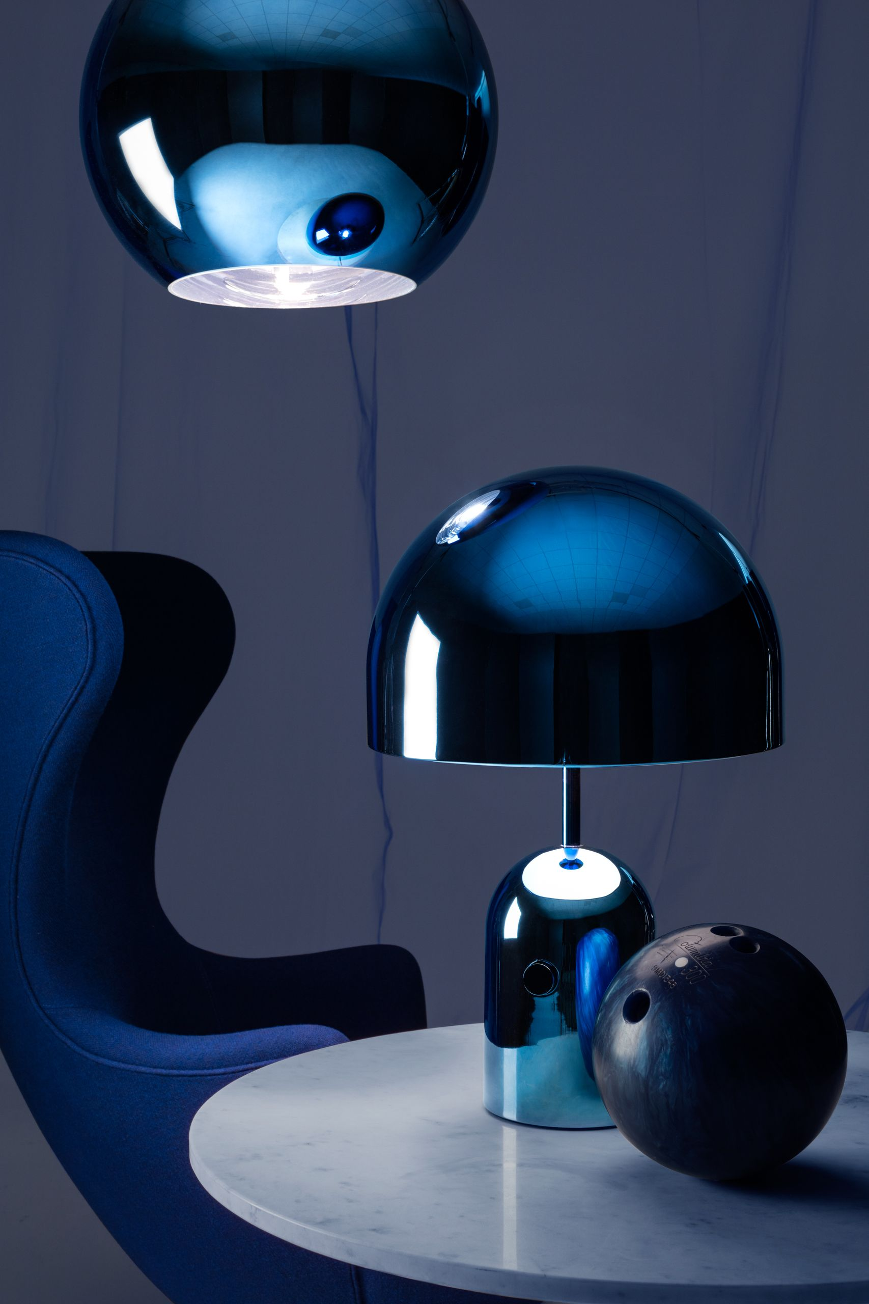 The Bell Light In Blue Bell Is An Exercise In Reductionism Its Polished Surface Reflecting The Characteristics And The Colo Table Lamp Lamp Black Table Lamps