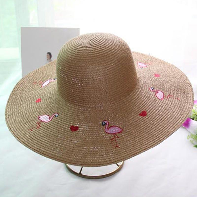 ef2d4fa8042ff Women Outdoor Flamingo Wide Brim Seaside Straw Hat at Banggood ...