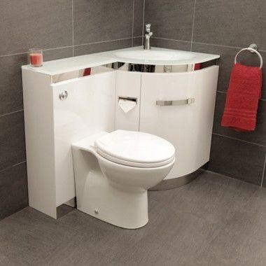Vigo Right Hand Corner Combination Unit With White Basin Bathroom Sink Units Small Bathroom Small Toilet Room
