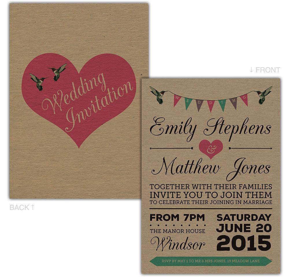 Personalised Kraft Day/Evening Wedding Invitations Birds Bunting ...