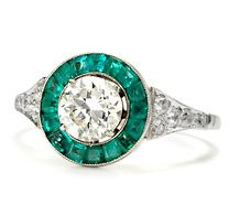 Argentine Target Ring of Diamonds & Emeralds #jewelry