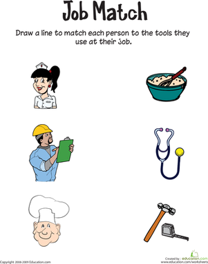 Job Match Worksheet Education Com Community Helpers Worksheets Preschool Jobs Worksheets For Kids