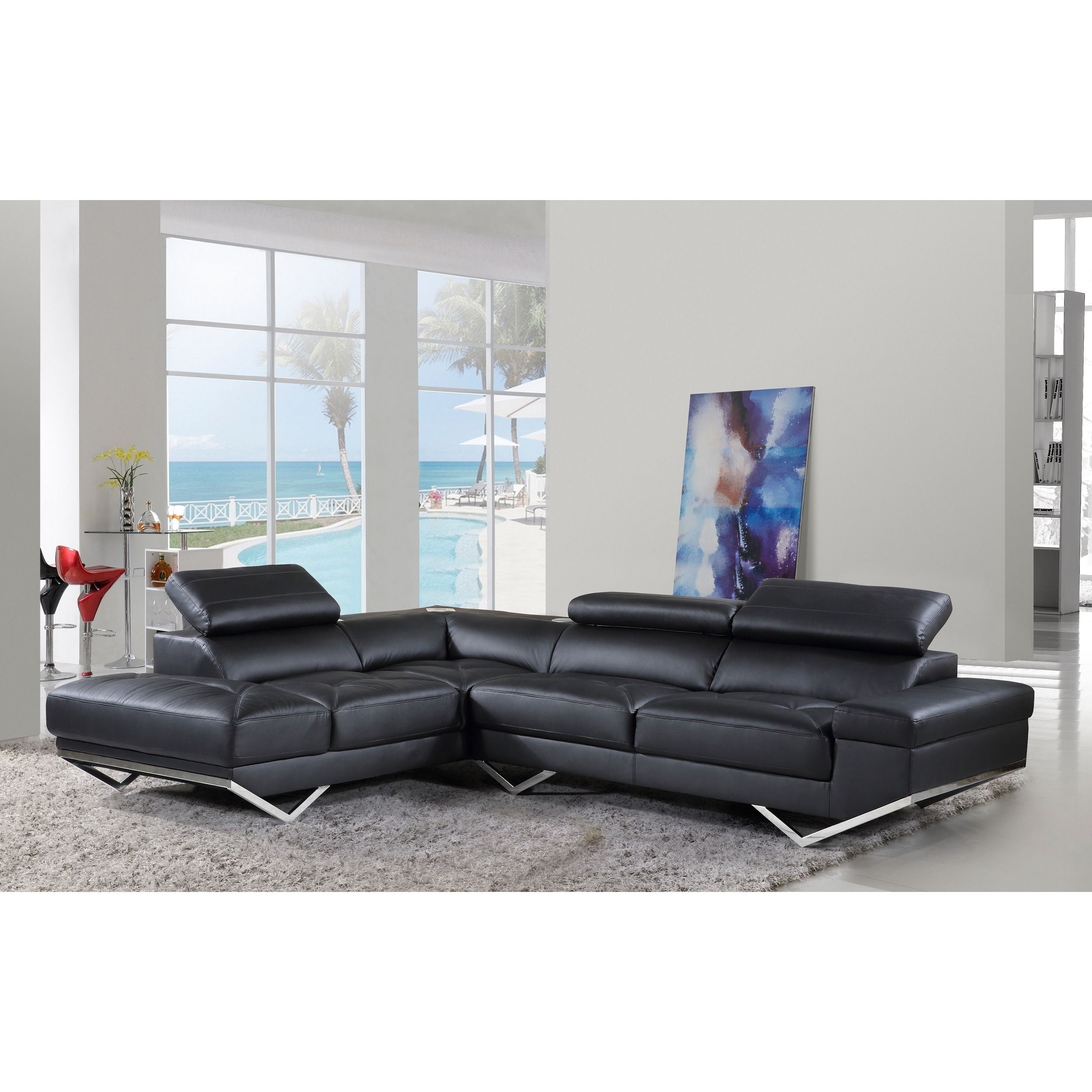 Iliana Leather Contemporary With Wireless Bluetooth - Bluetooth Couch