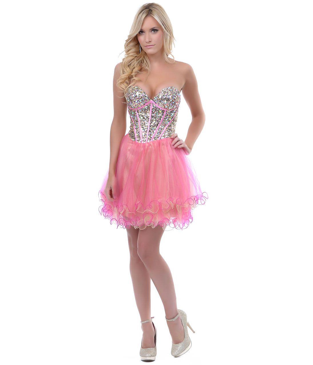 Pink u gold sequin corset tulle short prom dress unique vintage