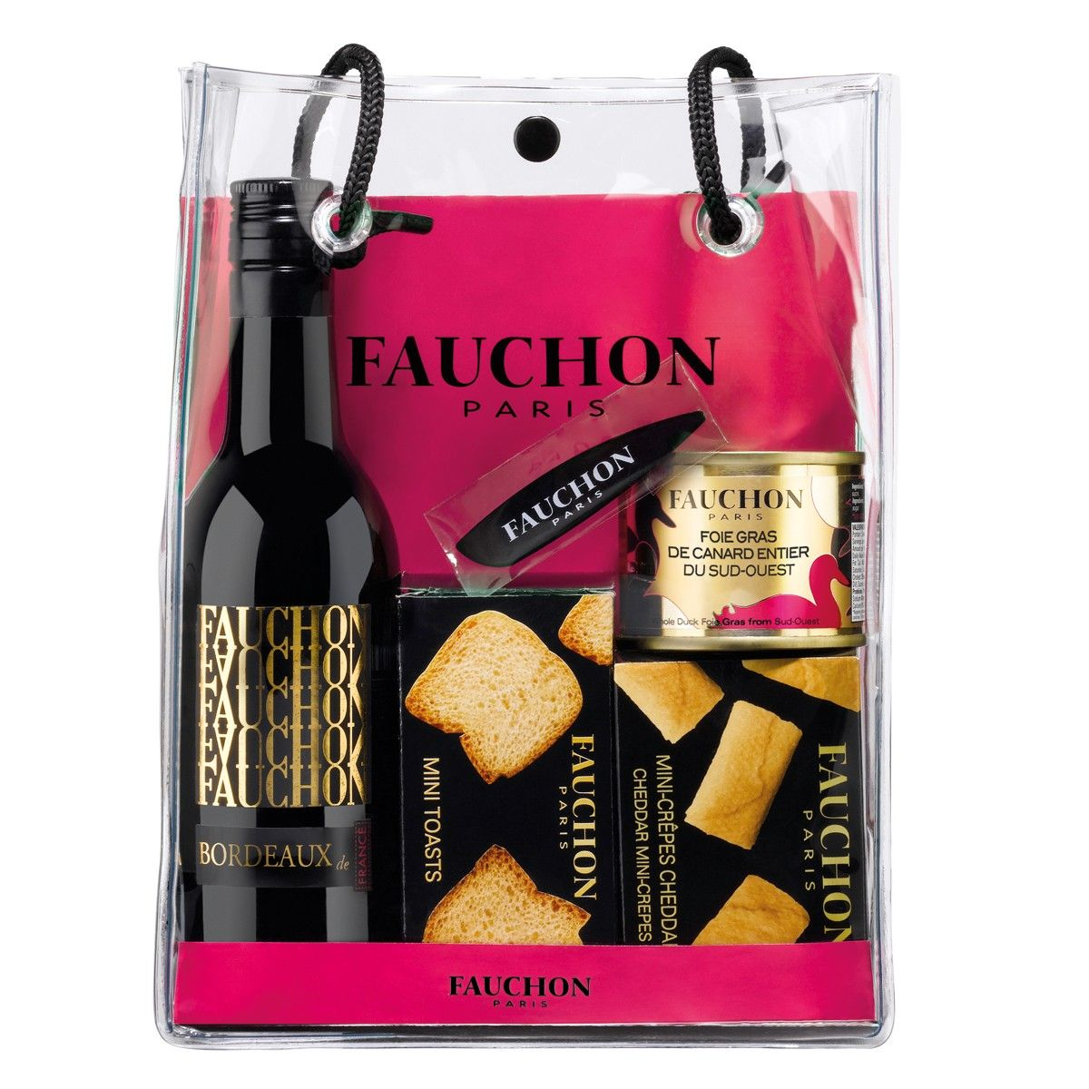 """<p style=""""text-align: justify;"""">FAUCHON invites you to discover a chic and tasty gift bag containing the must have Mini-crepes with Cheddar cheese filling, a block of duck Foie Gras complete with mini-toasts and a spatula.</p><br /> <p style=""""text-align: justify;""""><em><em>You can accompany this giftpurse with a bottle ofFAUCHON Bordeaux.</em></em></p><br /> <p style=""""text-align: justify;""""><em>Alcohol can damage your health, please drink reasonably.It is illegal for a ..."""