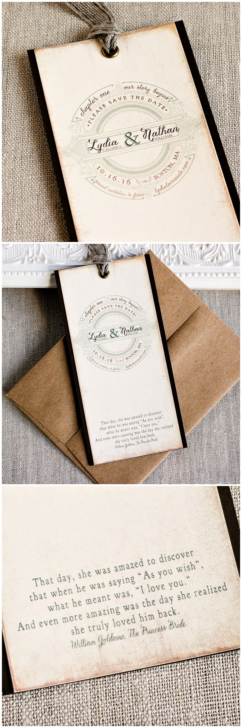 Save the Date Bookmark Vintage book The Princess Bride As You Wish Story Fairy tale wedding Library