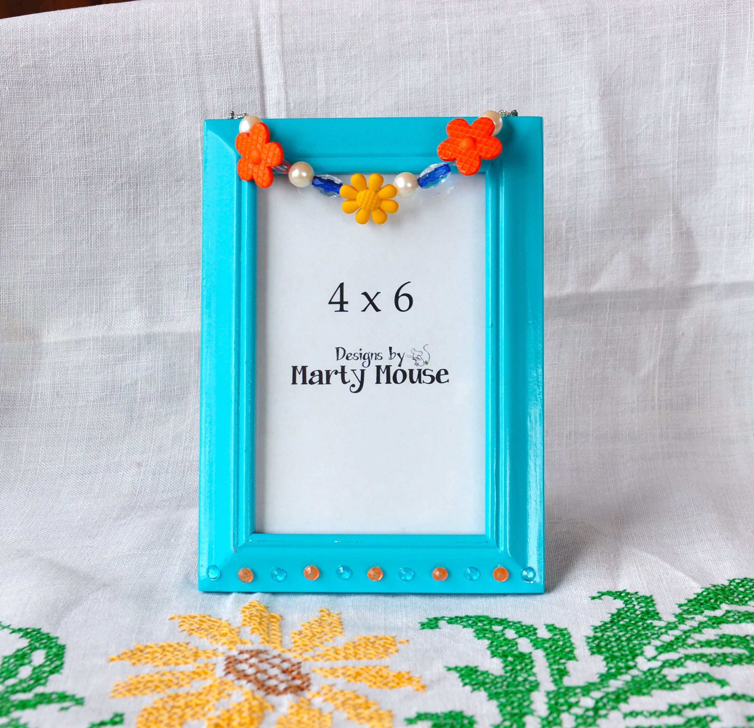 4x6 Picture Frame/Flower Picture Frame/Hippy Picture Frame/Blue ...