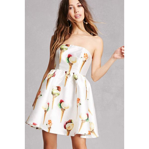 Forever21 Ice Cream Fit & Flare Dress ($48) ❤ liked on Polyvore ...