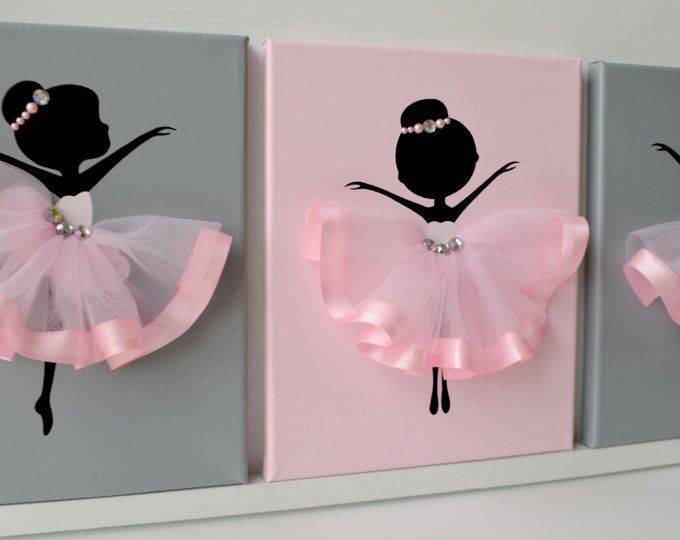 Dancing Ballerinas Wall Decor. Nursery wall art in Pink