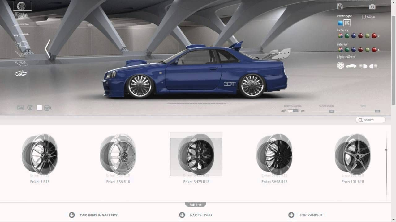 3D Tuner is a website that allows you to customise cars from