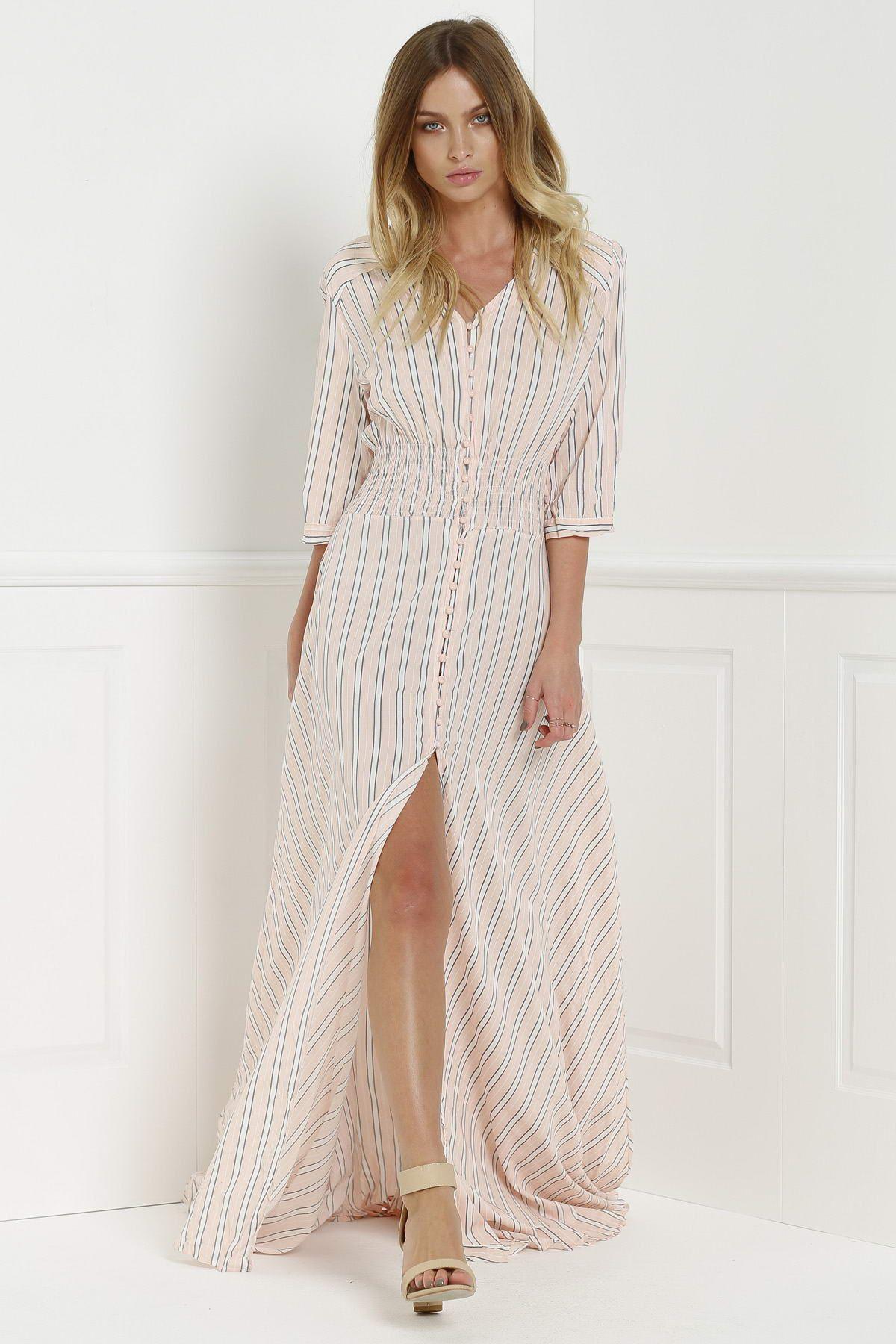 Button Front Stripe 3 4 Sleeve Maxi Dress Pink Thời Trang [ 1800 x 1200 Pixel ]