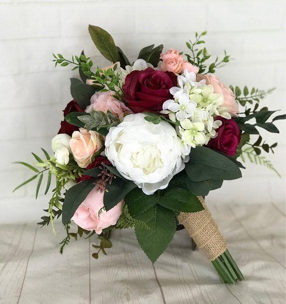 Rustikaler Hochzeitsstrauß, Burgunder Brautstrauß, Rouge Bouquet, Rustikale Hochzeit, Burgund... #pinkbridalbouquets