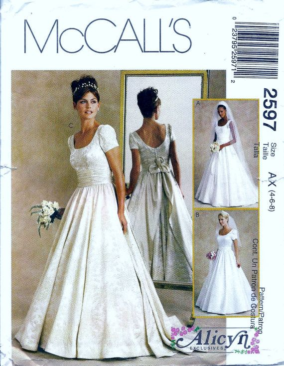 McCalls 60 Wedding Gown Patterns In 60 Pinterest Wedding Custom Wedding Gown Patterns