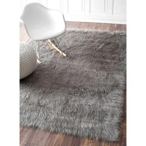 Nuloom Cloud Faux Sheepskin Plush Shag Gray 9 Ft X 12 Ft Area Rug Bibl15b 860116 The Home Depot Rugs Area Rugs Shag Rug