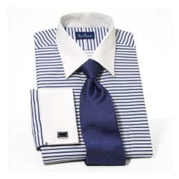wide varieties reputable site authentic quality Paul Fredrick Satin Horizontal Stripe White French Cuff ...