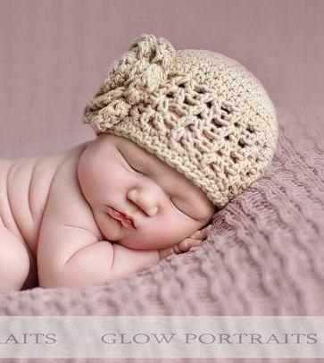 Chapéu de crochê para bebe e pré-adolescente