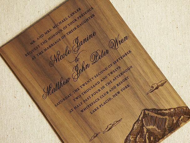 Flourish Letterpress and Wood Wedding Invitations | WOOD ENGRAVED