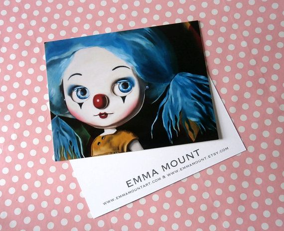 Blythe Doll clown postcards w envelopes