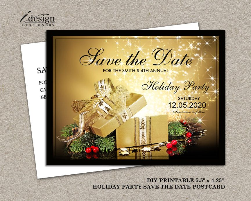 image about Printable Holiday Invitation referred to as Printable Xmas Or Trip Bash Preserve The Day Present
