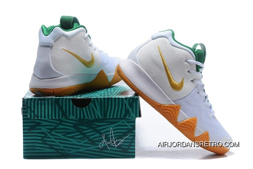 b21ec925ce49 Nike Kyrie 4 White Metallic Gold-Green Top Deals