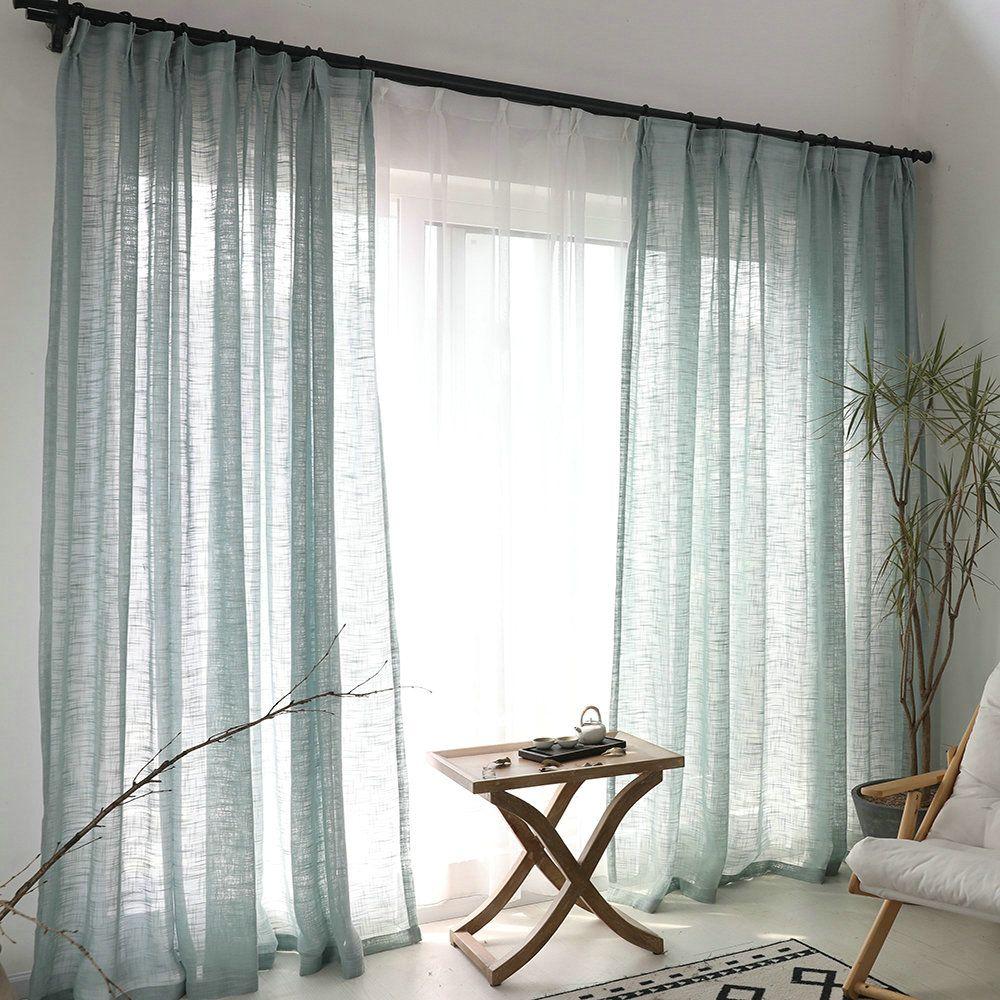 Minimalismus Gardine Blau Unifarbe Im Wohnzimmer Mit Bildern