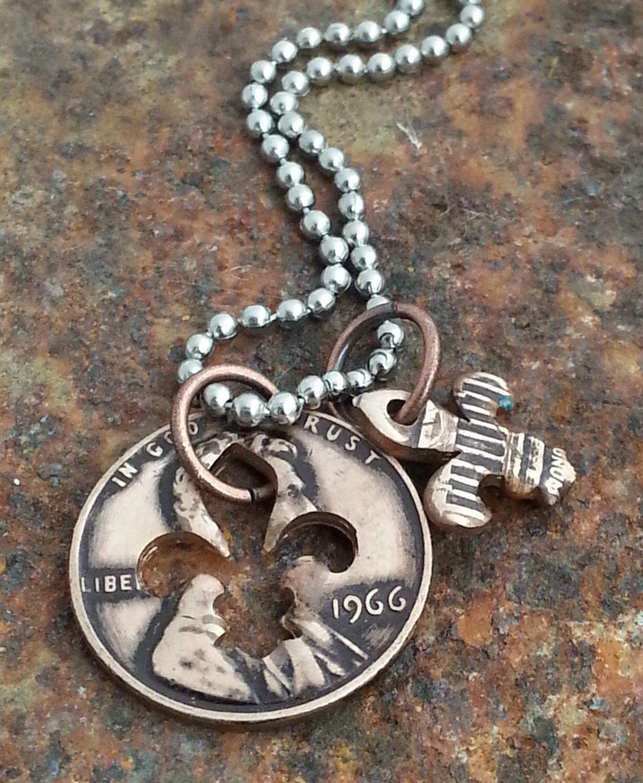 50th birthday 1966 fluer de lis penny necklace 50th