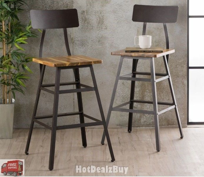 Industrial Metal Bar Stool Set Of 2 Wood Back Kitchen High Chair
