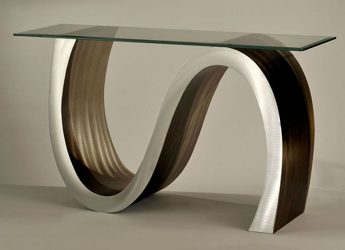 Meandering Glass Top Console Table Stohans Showcase Stylish
