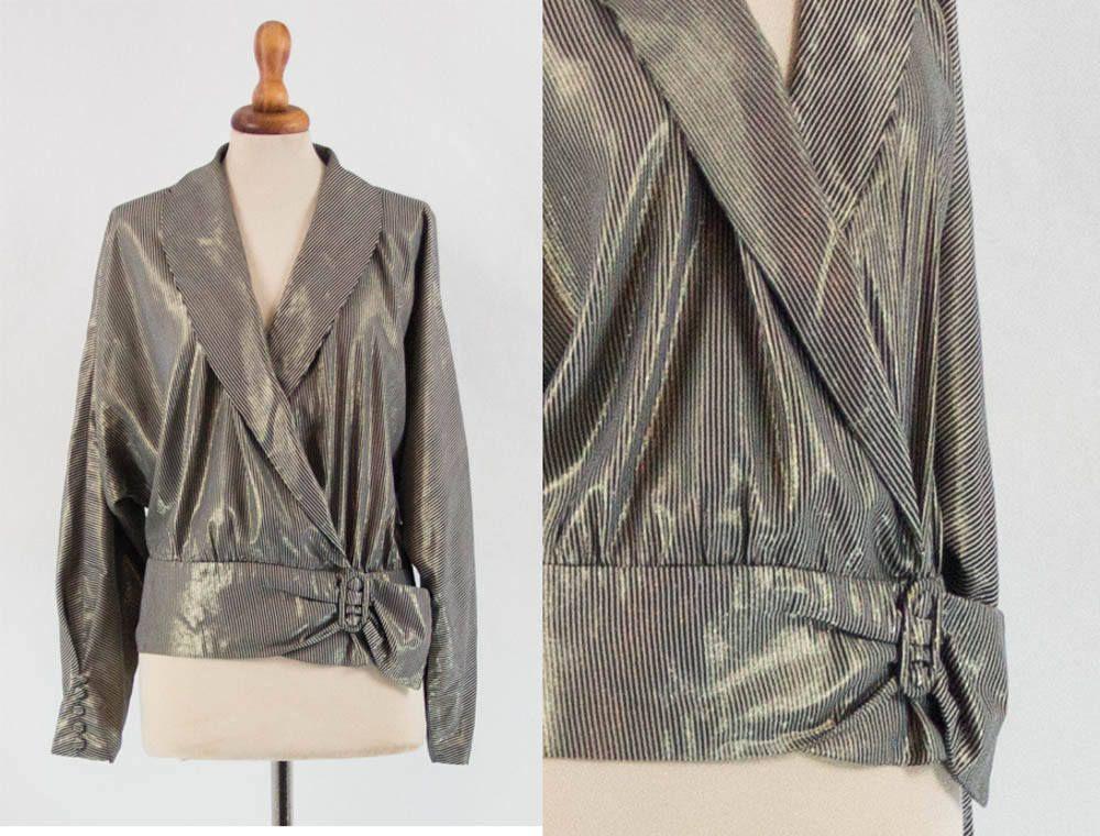 8f5538b2ad8 80s disco queen shirt, eighties lurex top, sartorial made, long sleeve,  golden