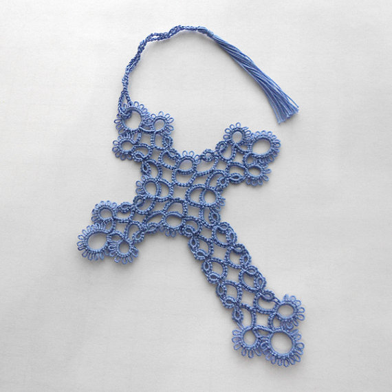 Tatted Bookmark - Tatted Lace Bookmark - Lace Cross - Your Color ...