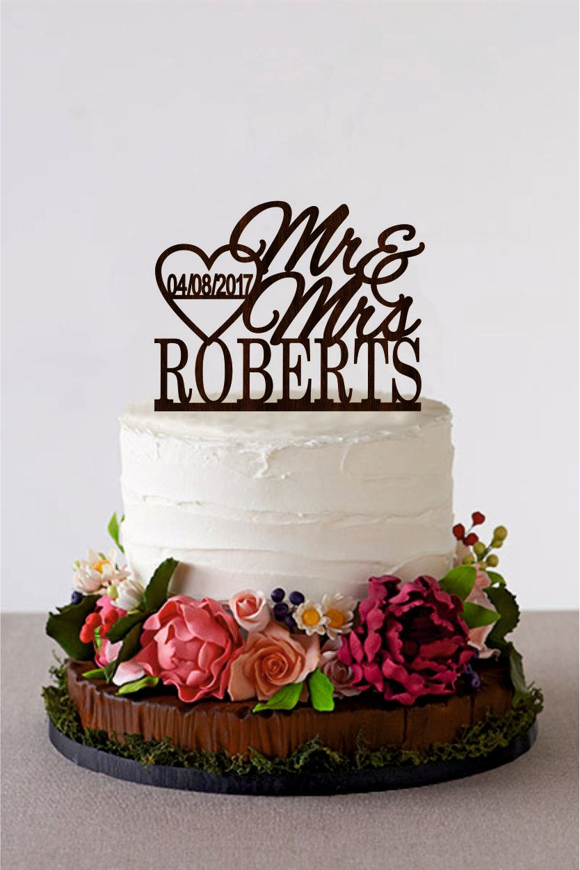 Wedding cake topper last name mr mrs personalized rustic cake topper
