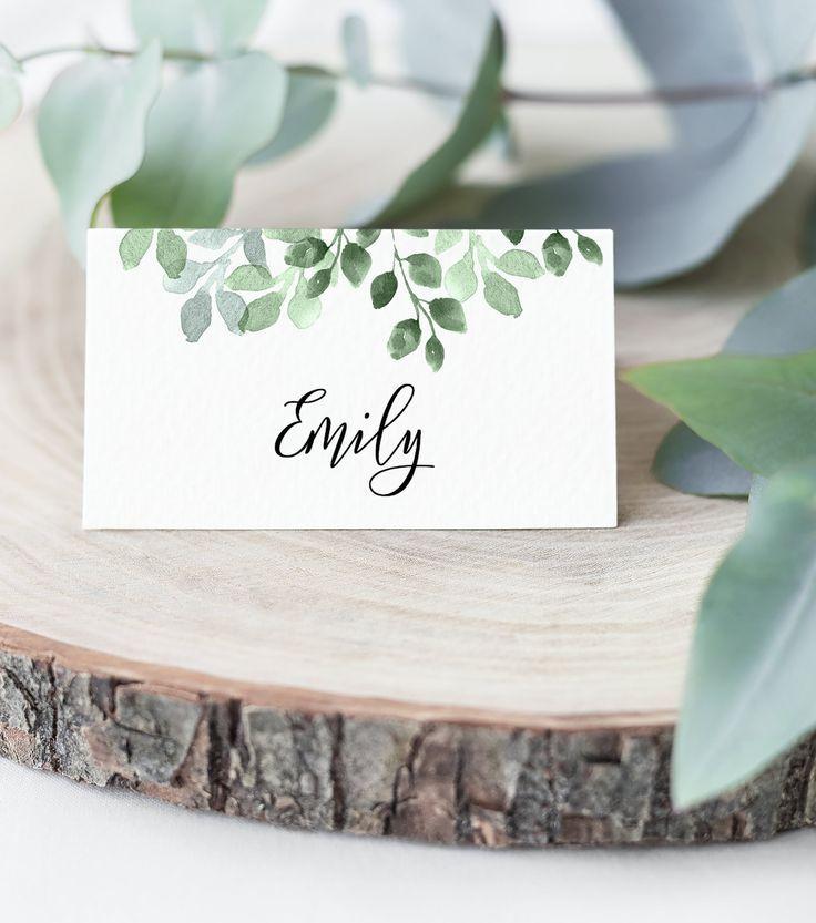 Hochzeits-Tischkarten Hochzeits-Namenskarten Bearbeitbare Vorlage Sofortiger Download Eukalyptus Druckbare Tischkarten Tischkarte Greenery – G01