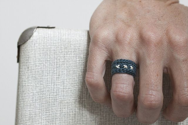 Crochet a ring from embroidery floss.