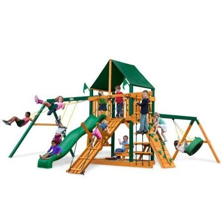 Gorilla Playsets Frontier Supreme Wood Swing Set with Canvas Green Canopy  sc 1 st  Pinterest & Gorilla Playsets Frontier Supreme Wood Swing Set with Canvas Green ...