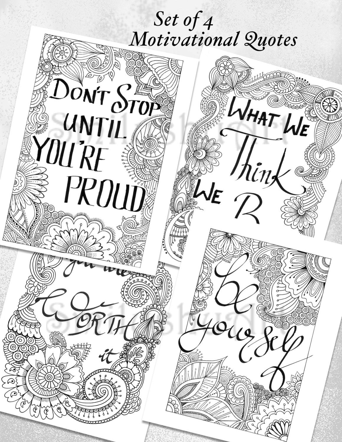 Set Of 4 Coloring Motivational Quotes Printable Zentangle PDF Book Positive Art Therapy Mindfulness