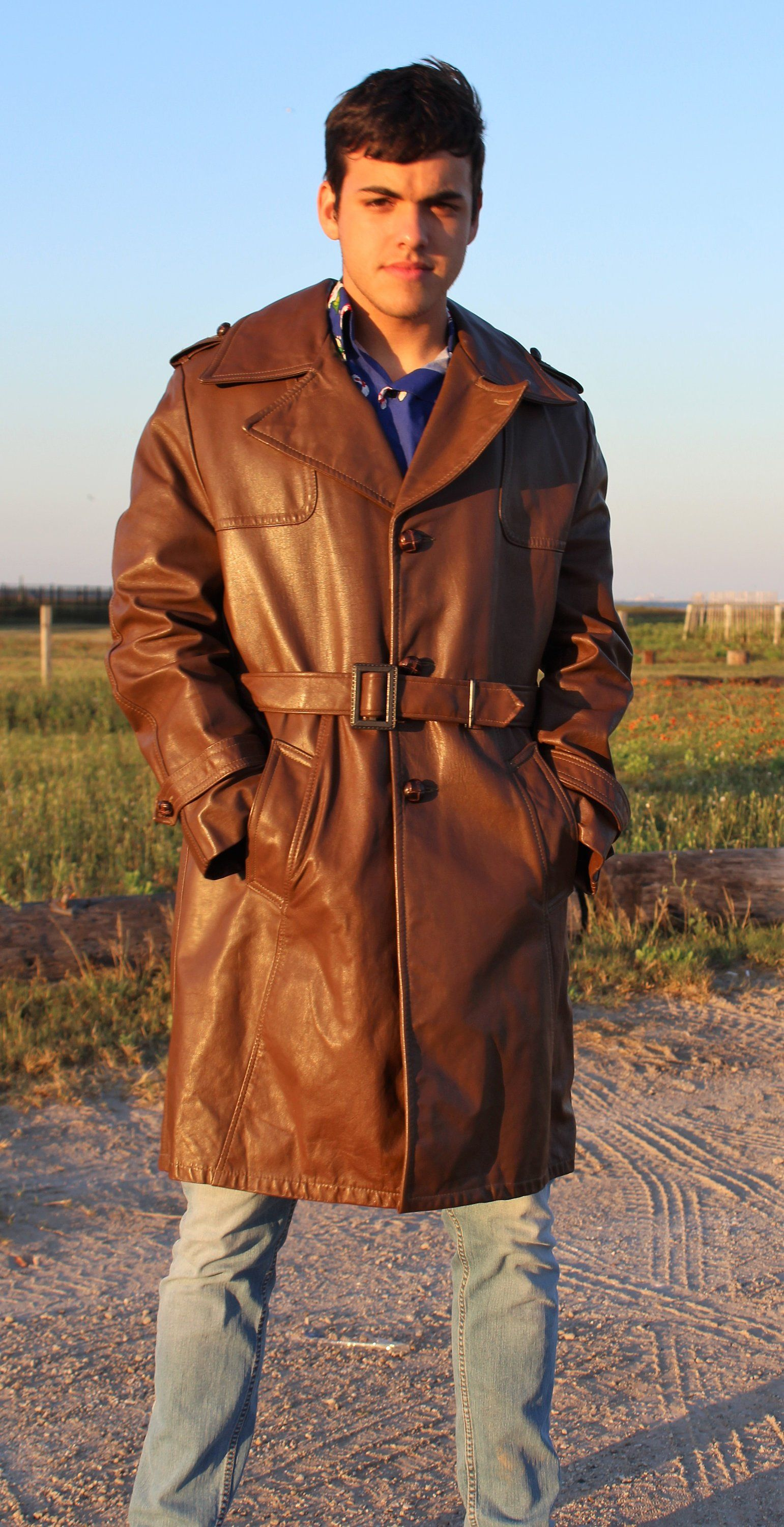 37a7d60921b9 70s leather trench coat  Leather Coat