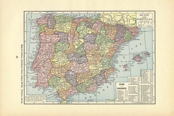 Small Map Of Spain.Map Print Spain Wall Decor Atlas Art Illustration To Frame Book