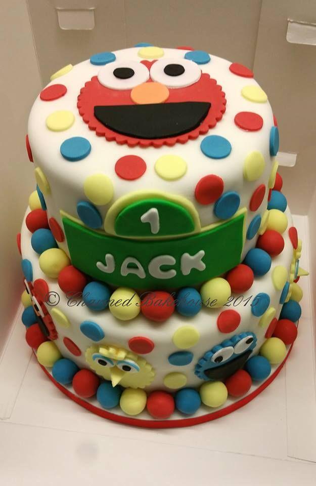 2 Tier Elmo Sesame Street Birthday Cake
