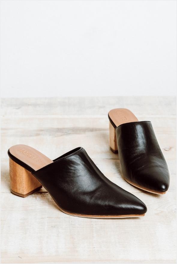 95f949e2ac4b2 James Smith Le Point Mule Black Block Heel Mules Wood Block Heel Minimal  Style Low Heel Comfortable Heels