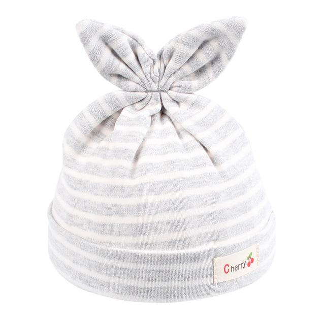 71a01669b01 Cotton Newborn Baby Hat Rabbit Ears Baby Beanie Hat For Boys Girls Solid  Striped Newborn Cap Ears Spring Summer Baby Tire Caps