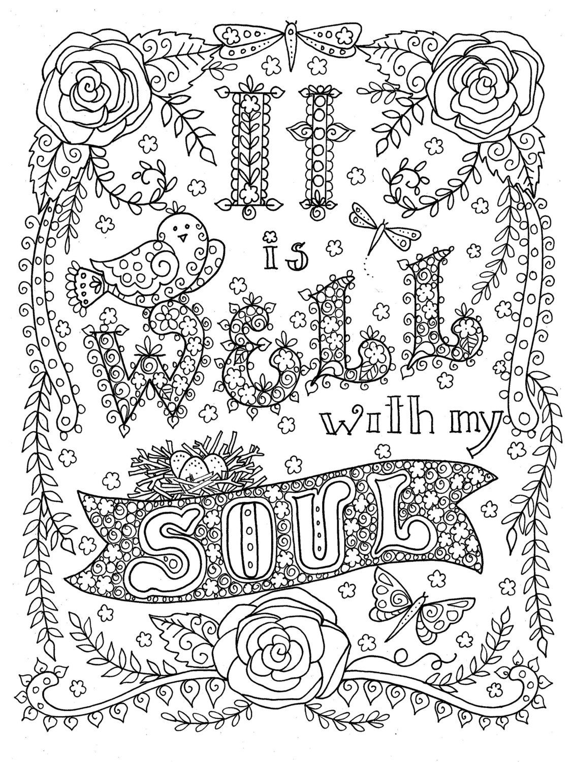 Digital Download Hymn Coloring Page It Is Well With My Soul Digi Stamp Print To Color