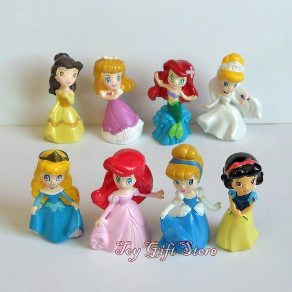 2018 Popular Disney Princess Action Figures Doll Playset Toy Cake Topper Decor